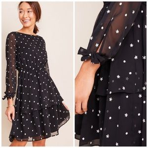 Ann Taylor- Floral embroidered flare dress